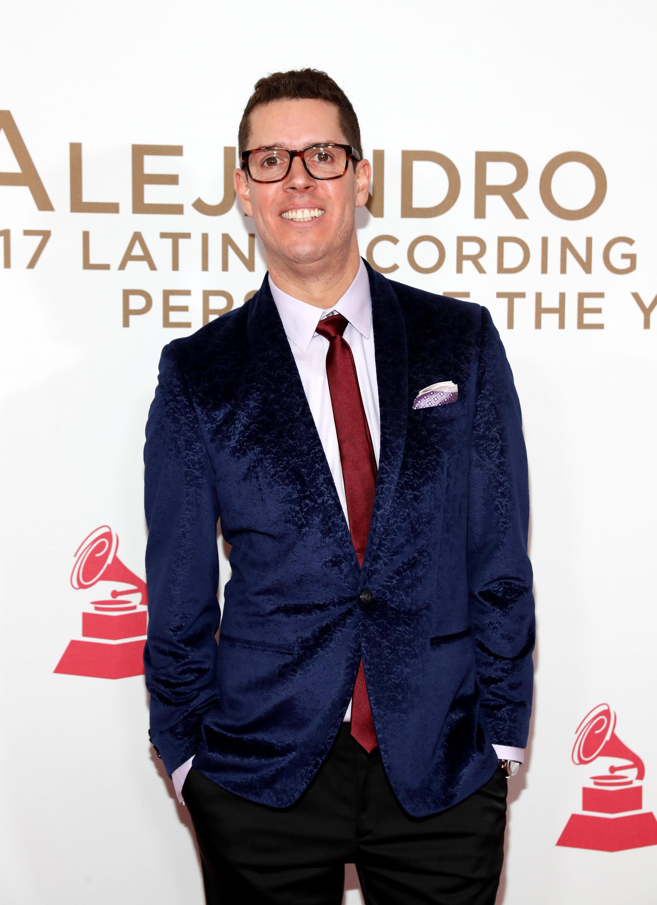 Juan Cristóbal Losada, Mr. Sonic, llega a la ceremonia de entrega de los Latin Grammy. 15 de noviembre de 2017.