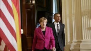 Encontro na Casa Branca do presidente Barack Obama e da primeira-ministra alemã, Angela Merkel.