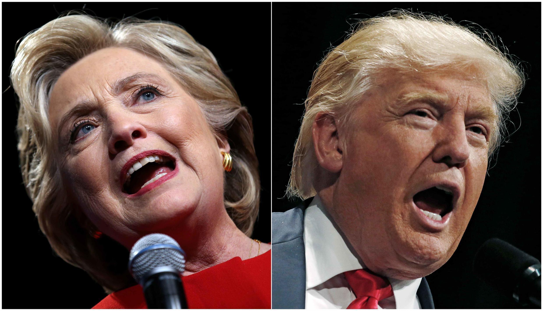 Hai ứng viên tổng thống Mỹ Hillary Clinton và Donald Trump.
