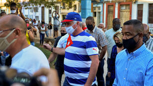 Cuban President Miguel Diaz Canel arrives at a concert rally to condemn the campaign in support of the San Isidro movement in Havana, on November 29, 2020