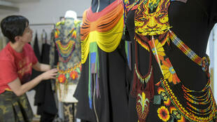 La diseñadora Laura Laurens en su taller de Bogotá. Marzo de 2019.
