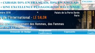 Capture d'écran du site du salon «24 heures de l'international».