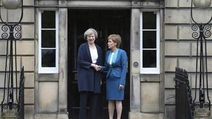 Scotland's first minister Nicola Sturgeon and UK prime minister Theresa May, outside Bute House in Edinburgh, July 2016.