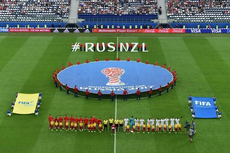 Jogo inaugural da Taça das Confederações entre a Rússia e a Nova Zelândia.