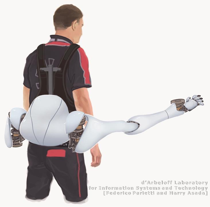 Un exosquelette permettant d'utiliser des bras supplémentaires.