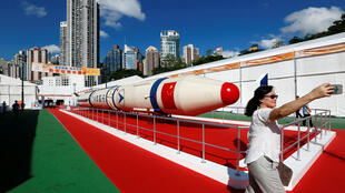 圖為中國長征火箭在香港展覽