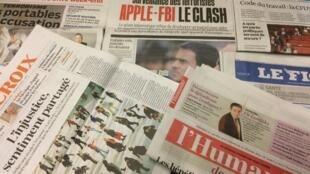 Primeiras páginas dos jornais franceses de 1ç de fevereiro de 2016