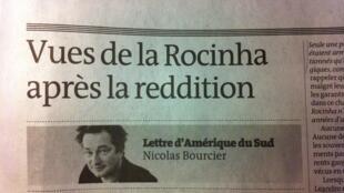 Artigo no jornal Le Monde do correspondente no Brasil Nicolas Bourcier