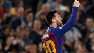 Lionel Messi scored two of Barcelona's goals against Liverpool in the first leg of their Champions League semi-final.
