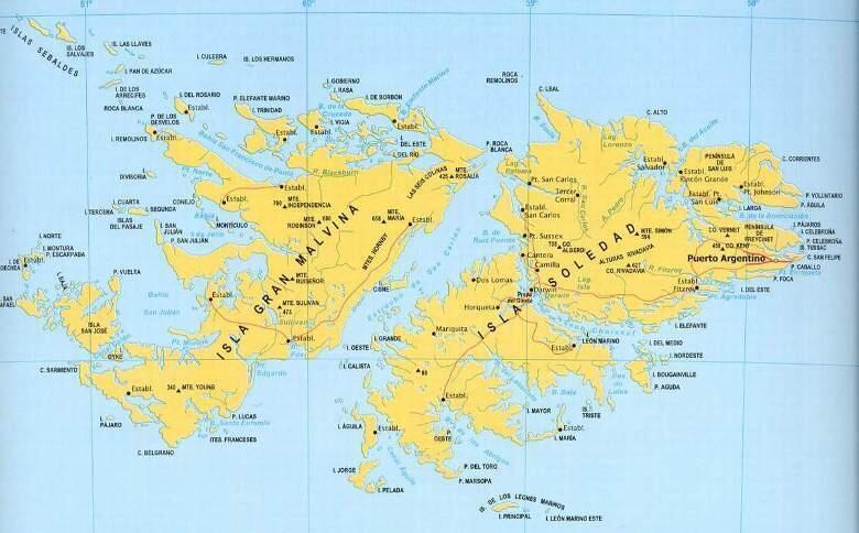 Mapa de las Islas Malvinas