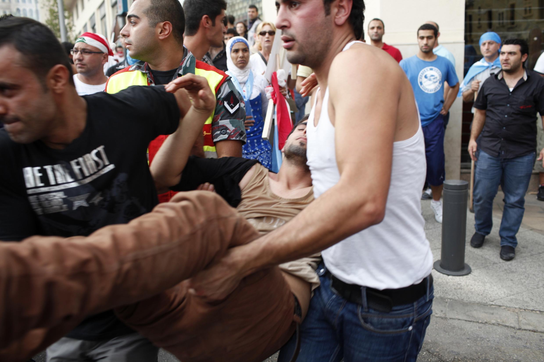 Affrontements entre manifestants et l'autorité libanaise. Beyrouth, le 21 octobre 2012.