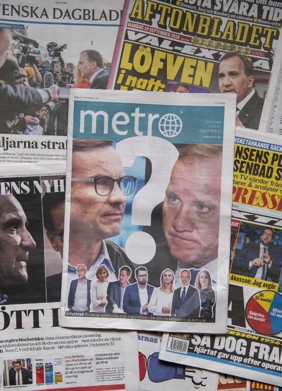 Jornais suecos de 10 de Setembro de 2018 dão conta da incerteza política no país.