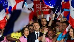 Mitin de Macron en La Villette, París.