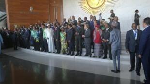 Os chefes de Estado da União Africana em Addis Abeba a 30 de Janeiro.