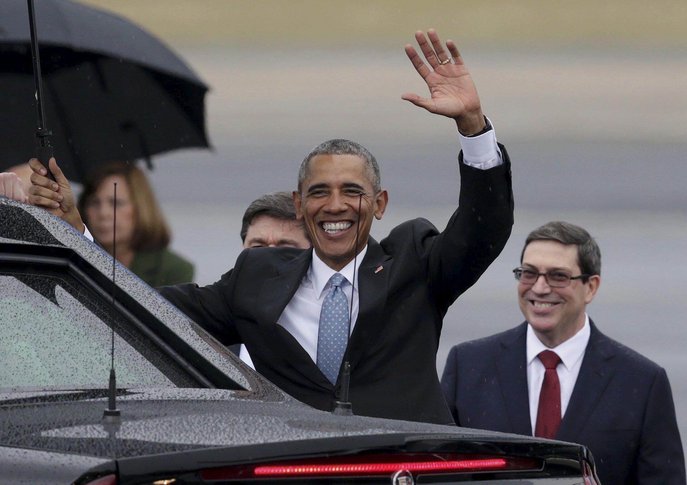 Barack Obama em sua chegada a Havana neste domingo, 20/03/2016.