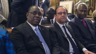Le président sénégalais Machy Sall, aux côtés de son homologue François Hollande, lors de sa visite d'Etat, le 21 décembre 2016.