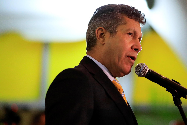 L'opposant et candidat à la présidentielle Henri Falcon, lors d'une conférence de presse, le 27 février 2018, à Caracas.
