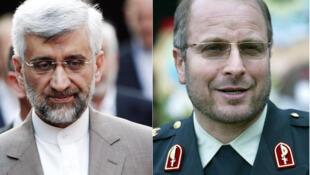 O prefeito de Teerã, Mohamed Bagher Ghalibaf (à direita), ao lado do diplomata Said Jalili.