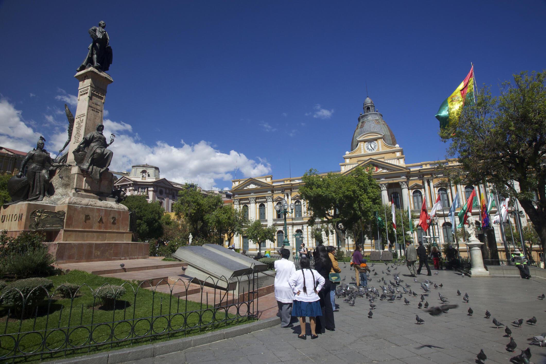 Praça Murillo e o palácio presidencial em La Paz.