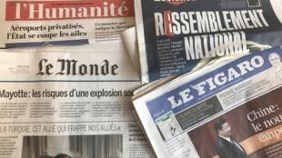 Capas dos diários franceses do dia 12 de Março de 2018
