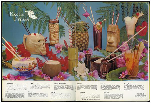 Carte de cocktails polynésiens et ses mugs. Début des années 1960.