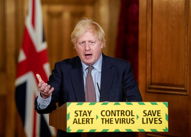 Thủ tướng Anh Boris Johnson trong cuộc họp bào hàng ngày về dịch Covid-19, tại trụ sở chính phủ, 10 Downing Street, Luân Đôn, ngày 03/06/2020