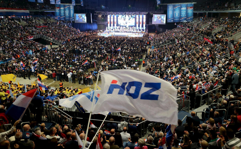 Rassemblement politique du HDZ le 5 novembre 2015 à Zagreb pour les prochaines législatives en Croatie.