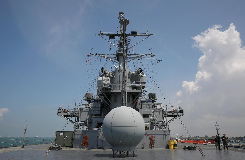Chiến hạm Mỹ USS Blue Ridge (LCC 19) tại căn cứ Hải quân Changi, Singapore, ngày 09/05/2019.