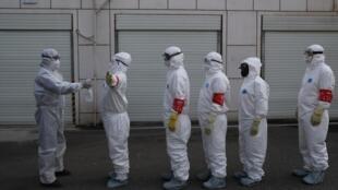 Epidémie de coronavirus, Wuhan, foyer de la maladie, le 22 février 2020.