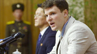 2016年2月29日被朝鲜囚禁的美国大学生瓦姆比尔(Otto Frederick Warmbier) 出庭。