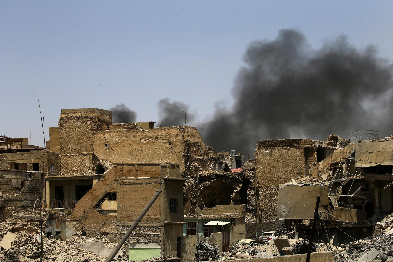 Một cảnh thành phố cổ Mossul, Irak, đổ nát. Ảnh ngày 10/07/2017.