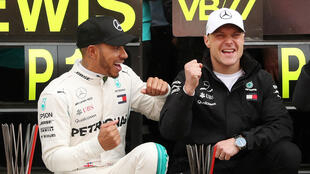 Lewis Hamilton (left) finished ahead of his Mercedes stablemate Valtteri Bottas at the Spanish Grand Prix.