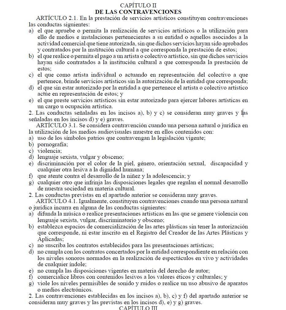 Extracto del polémico Decreto 349 en Cuba.