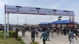 Le poste de Sèmè-Kraké lors de son inauguration en 2018 à la frontière du Nigeria et du Bénin.