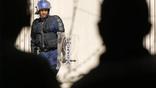 Policing a strikers' demonstration in Cape Town on Monday