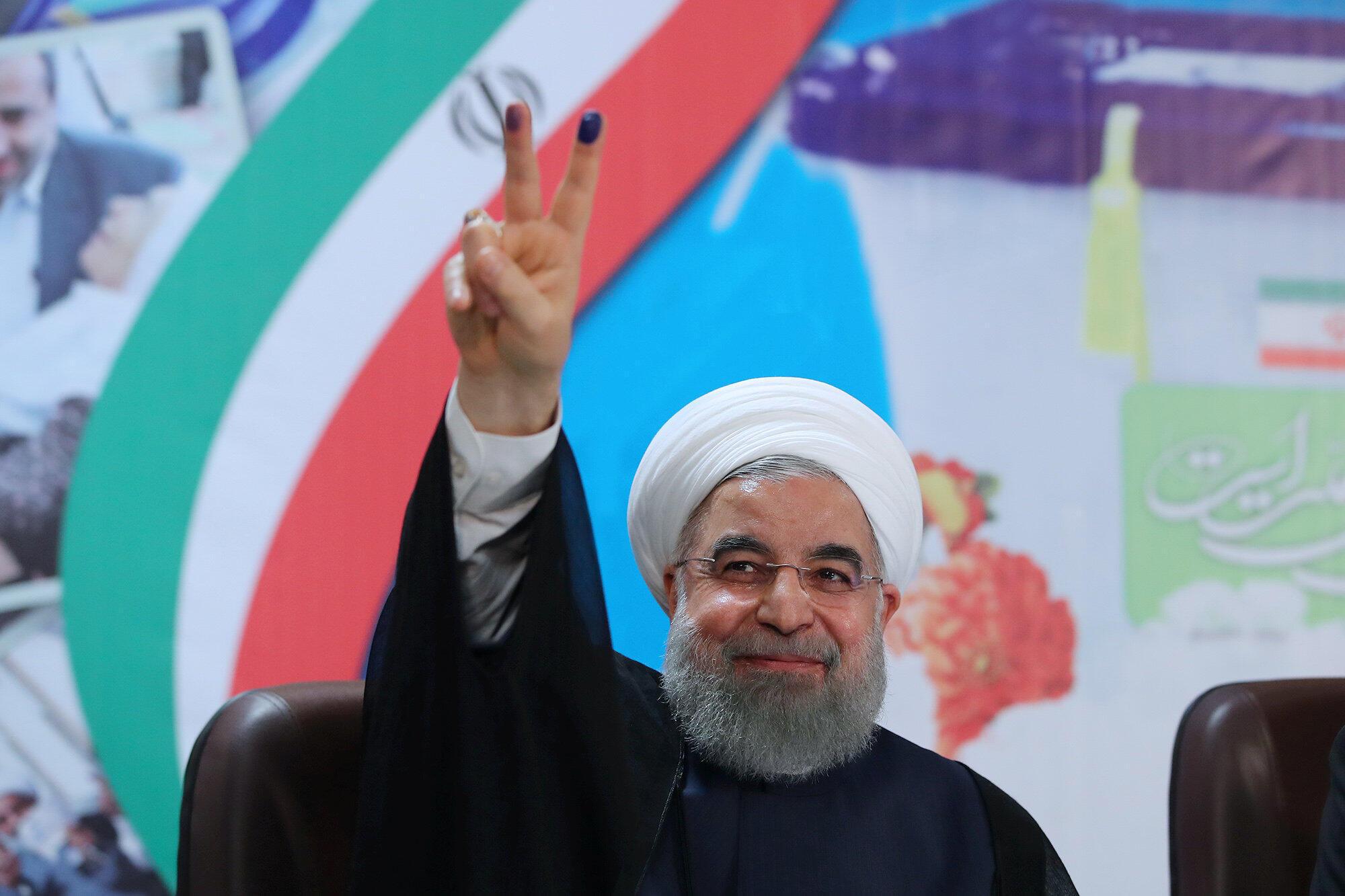 O presidente iraniano Hassan Rouhani se candidatou à reeleição, em Teerã.