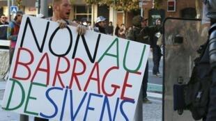Manifestation contre le barrage de Sivens, le 27 octobre 2014 à Albi.