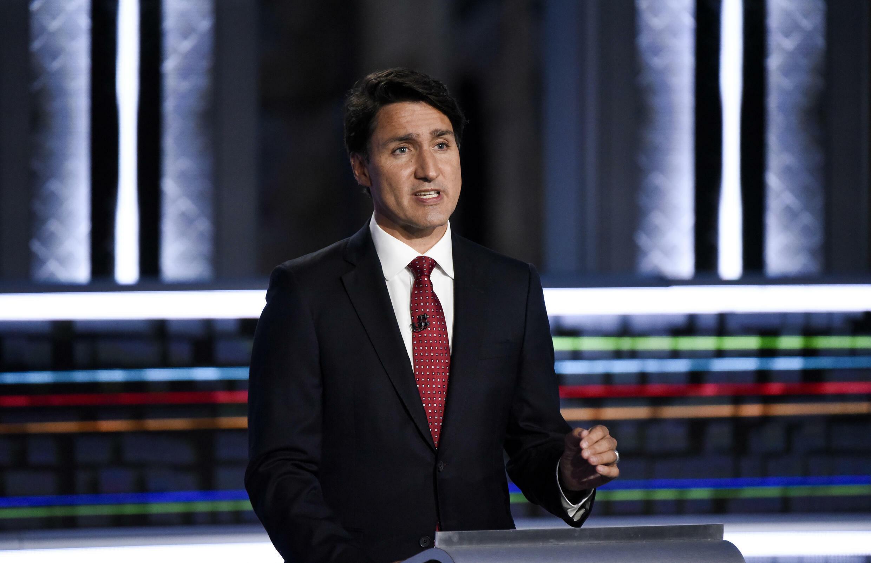 El primer ministro canadiense y líder liberal Justin Trudeau habla durante el debate de líderes angloparlantes para  las elecciones federales en Gatineau, Quebec, Canadá, el 9 de septiembre de 2021.