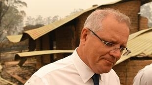 Le Premier ministre australien Scott Morrison sur le terrain, à Sarsfield, Victoria, le 3 janvier 2020.