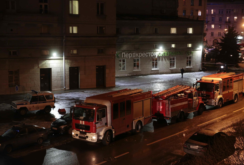 Xe cứu thương trước siêu thị nơi xẩy ra vụ nổ bom, Saint-Pétersbourg, Nga, ngày 27/12/2017
