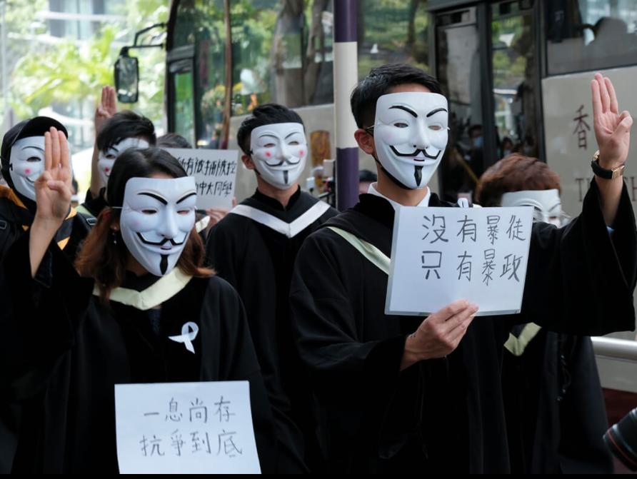 11月19日香港中文大学毕业生游行资料图片