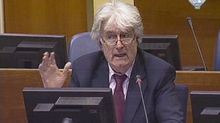 Radovan Karadzic takes the stand at his war crimes trial at The Hague, 1st March 2010.