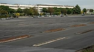 The empty parking lot of Renault's George-Besse factory in Douai on Monday