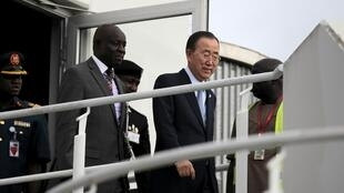 Le secrétaire général des Nations unies Ban Ki-moon à son arrivée à Abuja, au Nigeria, le 23 août 2015