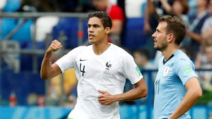France's Raphaël Varane after scoring a goal against Uruguay