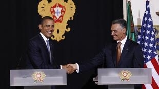 出席北约峰会的美国总统奥巴马会见葡萄牙总统阿尼巴尔·卡瓦科·席尔瓦