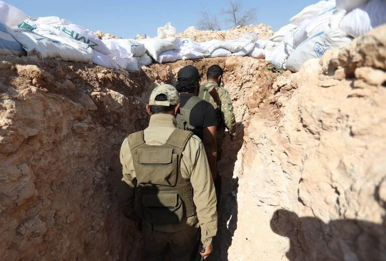 Combatentes rebeldes na província de Idlib. 31 de Agosto de 2018.