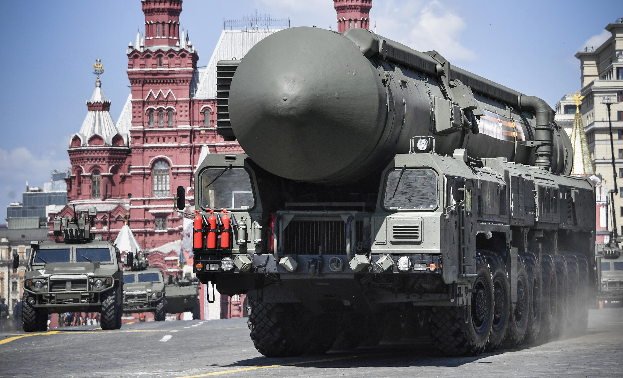 Russia, which is negotiating with Washington on the New START nuclear treaty, parades a Yars RS-24 intercontinental ballistic missile system through Red Square during a parade to mark the 75th anniversary of the victory over Nazi Germany in June 2020