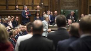 Theresa May, lors d'une déclaration à la Chambre des communes, le 25 mars 2019.