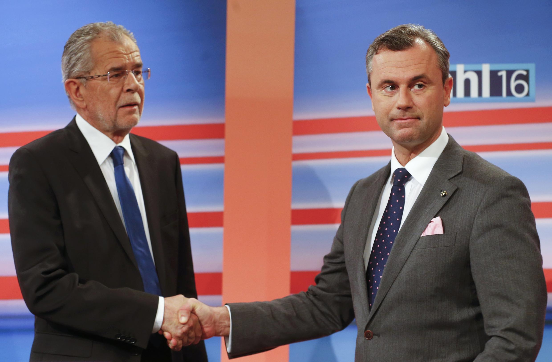 Os dois candidatos à eleição presidencial da Áustria.